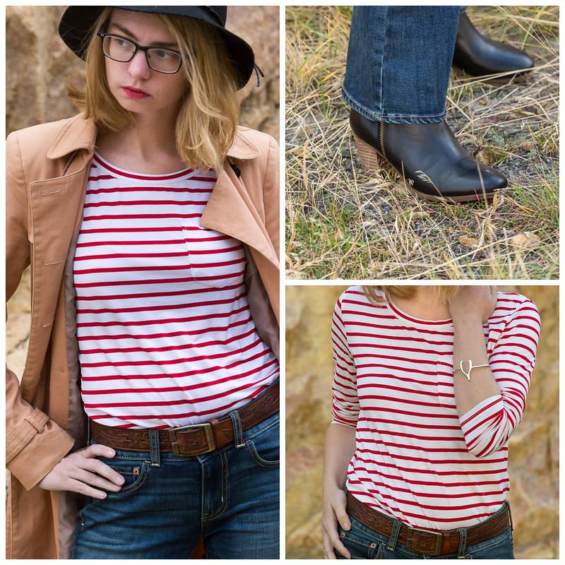 popbasic, flare jean, striped shirt,