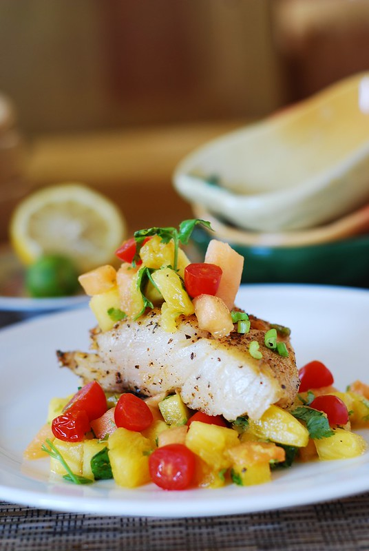 White fish with salsa (black cod with tropical fruit), seafood, halibut, mahi mahi, black cod, tilapia, sea bassh