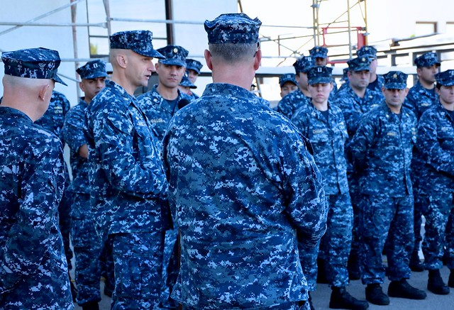 SAN DIEGO - Captain Thomas P. Shaw, Commanding Officer of Afloat Training Group San Diego, addresses Sailors at the commencement of the command's Sexual Assault Prevention and Response Training stand down.