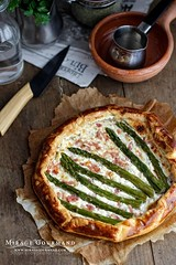 Galette with goat cheese, lardons and asparagus by…