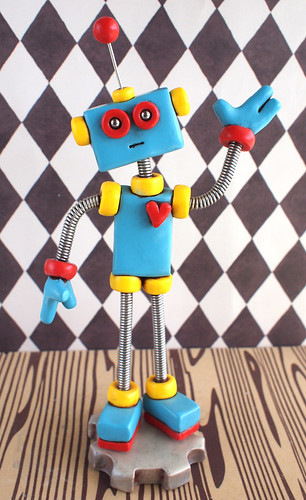 Blue Red Fred the Robot Sculpture : Colorful Geeky Decor & Bot in Need of a Home by HerArtSheLoves