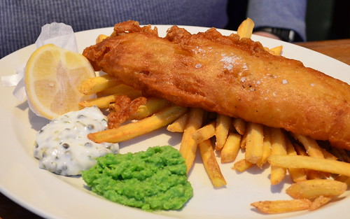 Beer Battered Haddock with Chips and Proper Mushy Peas