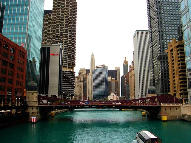 Chicago (View of the Chicago River & Clark Street Bridge,with Marina City Towers,from LaSalle Street Bridge)