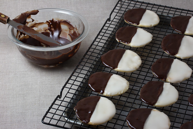 Vegan black and white cookies glazed with chocolate icing