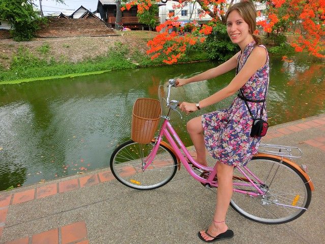 Biking around the moat in Chiang Mai, Thailand