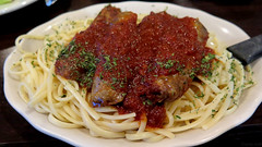 Linguine and Italian sausages