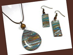 polymer clay Earth Tones Pendant & Earring set
