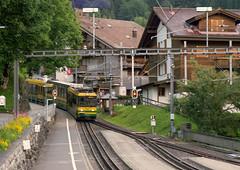 WAB Wengernalbahn Class BDhe 4/8 3-car articulated No. 147 descends into Wengen on 16 Aug 2016