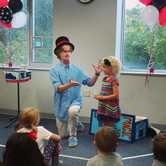 We went to a magic show birthday party today and Nora was chosen from the audience! She was so excited and it was really cute. I highly recommend Drew Blue Shoes, he did a really great job and was great with the kids! #age4israd #magic