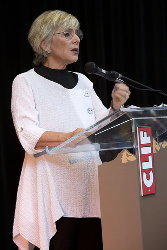 Senator Boxer at Clif HQ: Podium