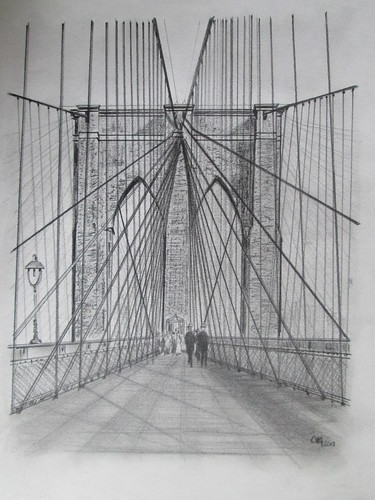 Brooklyn Bridge, Pencil on paper. M.Carmen Voces, 2013