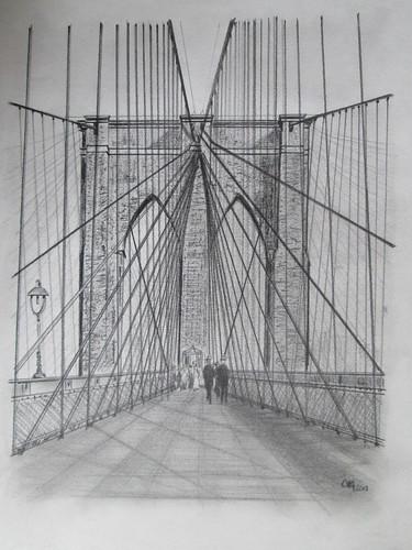 Brooklyn Bridge, Pencil on paper. M.Carmen Voces, 2013