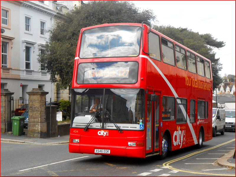 Plymouth Citybus Ex-Stockwell PVL 434 X546EGK is seen departing Plymouth High School for Girls on her first day of service on the 127 School service to Tavistock.