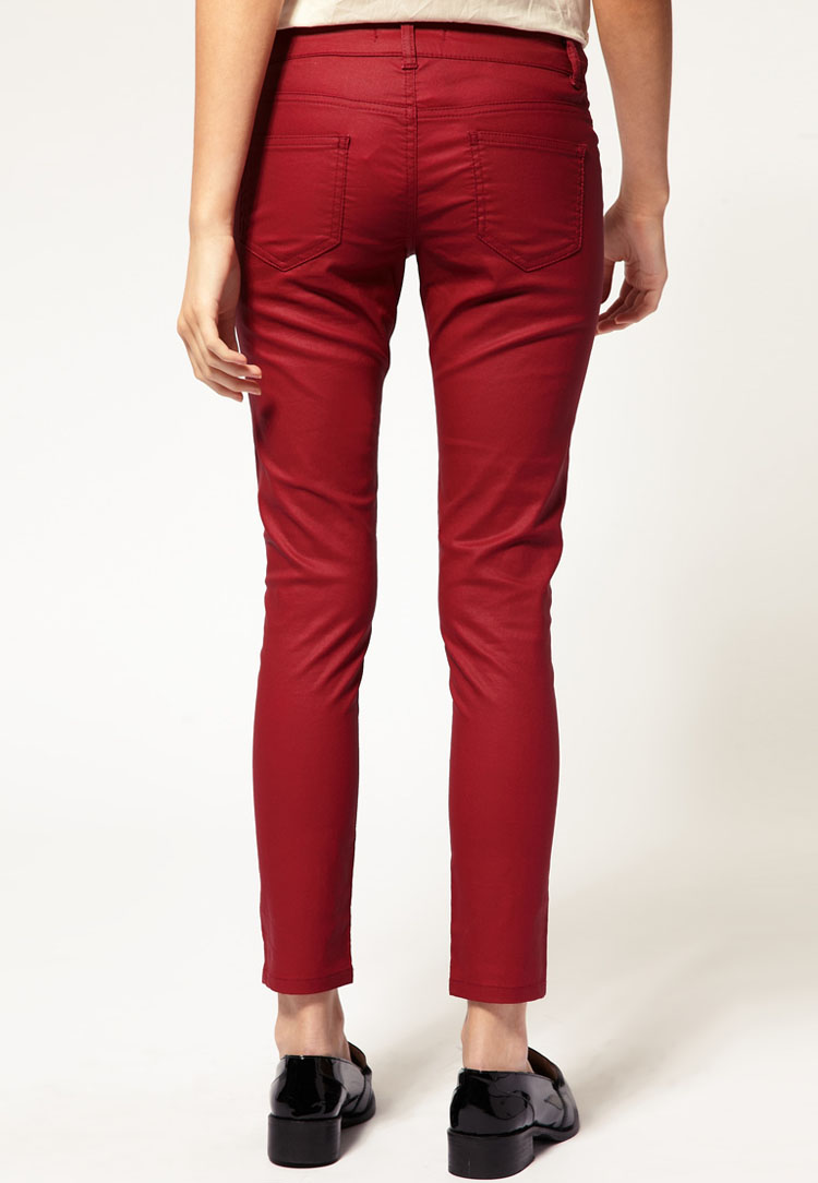 ASOS PETITE Exclusive Red Skinny Jeans With Wet Look Effect