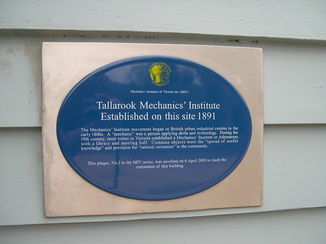 Photo of Tallarook Mechanics' Institute blue plaque