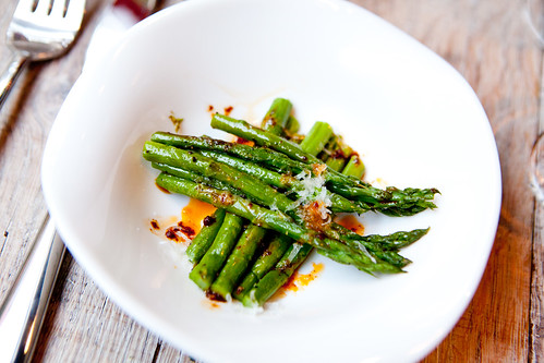 Pencil asparagus, balsamic, red chili oil, grated Manchengo cheese