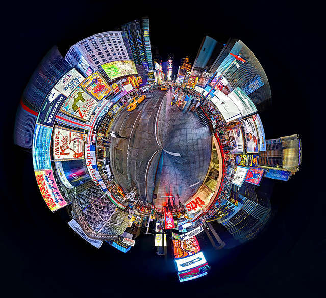 Times Sq at Night - Polar Panorama