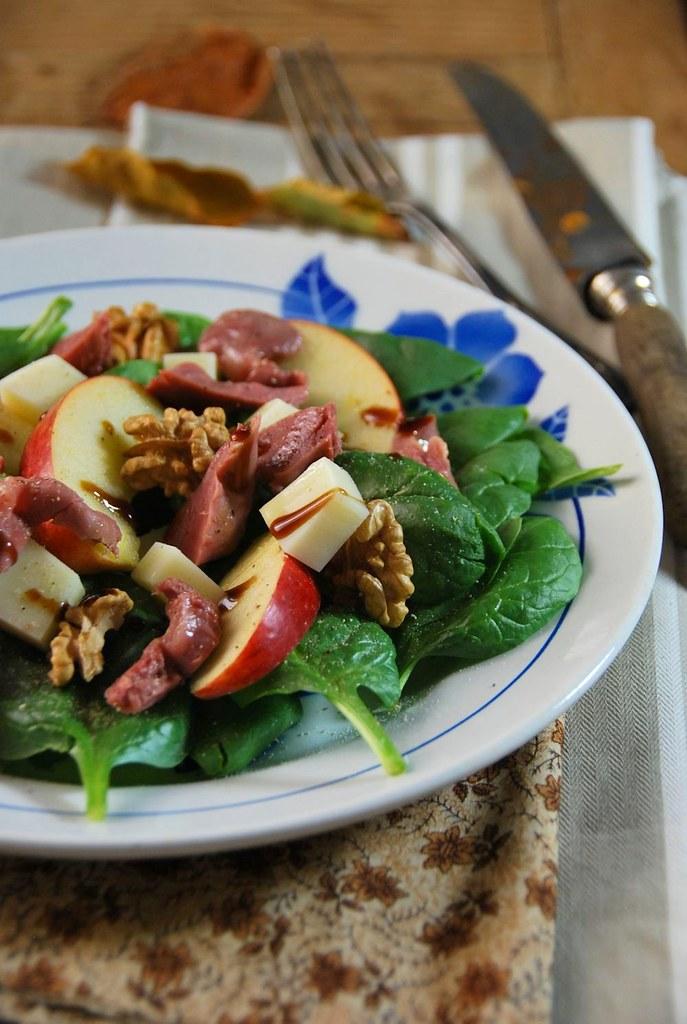 Salade composée d'automne aux épinard et gésier