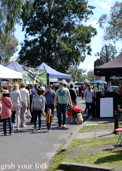 Dogs, kids and shoppers at Abbotsford Convent Slow Food Farmers Market