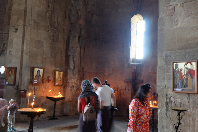 Cavernous interior of the Jvari church