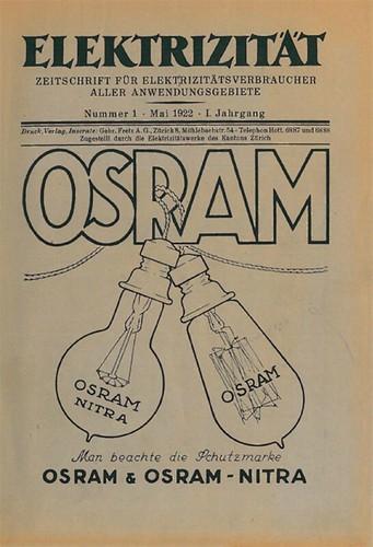Die erste Ausgabe «Die Elektrizität» (1922)