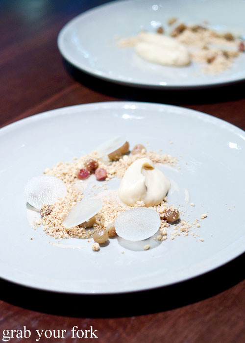 pear honey cream and muntries at momofuku seiobo the star sydney