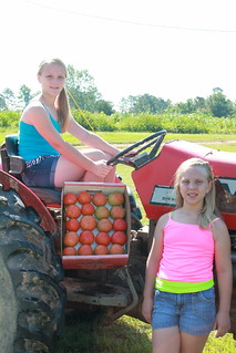 Picture of two youth with a box of tomatoes next to a tractor