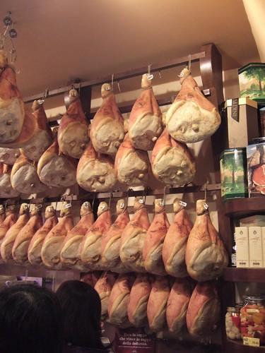 Hanging hams, Parma deli