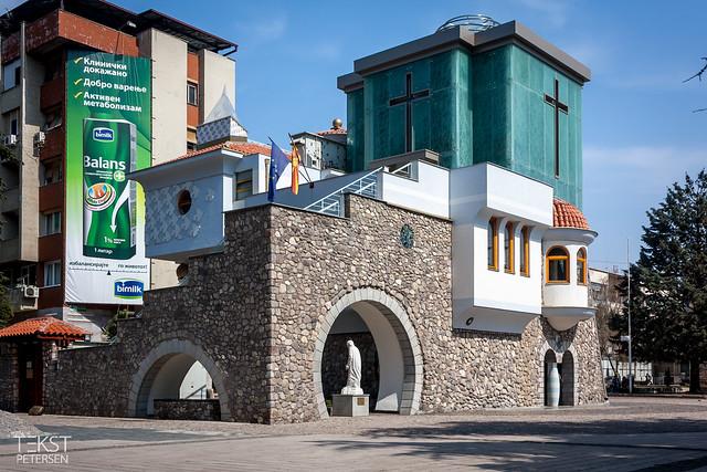 Mother Teresa-mindebygningen på Ulica Makedonija centralt i Skopje.