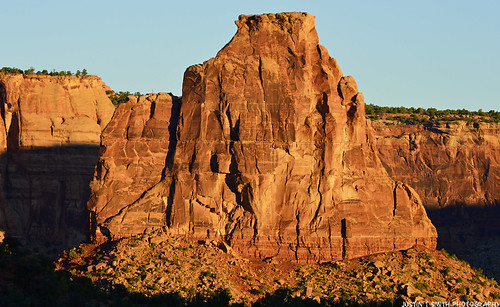 First light on Independence Monument-Colorado National Monument. Taken in Upper Monument Canyon