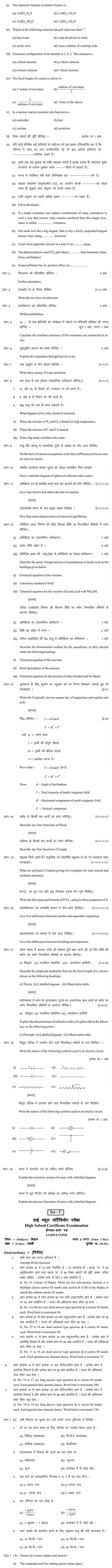 Chattisgarh Board Class 10 Science Sample Paper