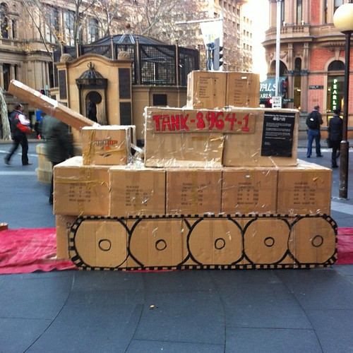 (Cardboard) Tank outside #QVB, #Sydney for the anniversary of #TiananmenSquare