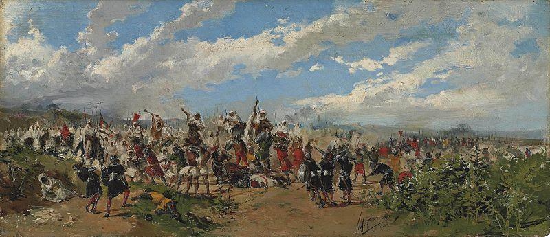 12. En lo más árduo de la lucha. Obra de Mariano Barbasán. Óleo sobre madera. 1882