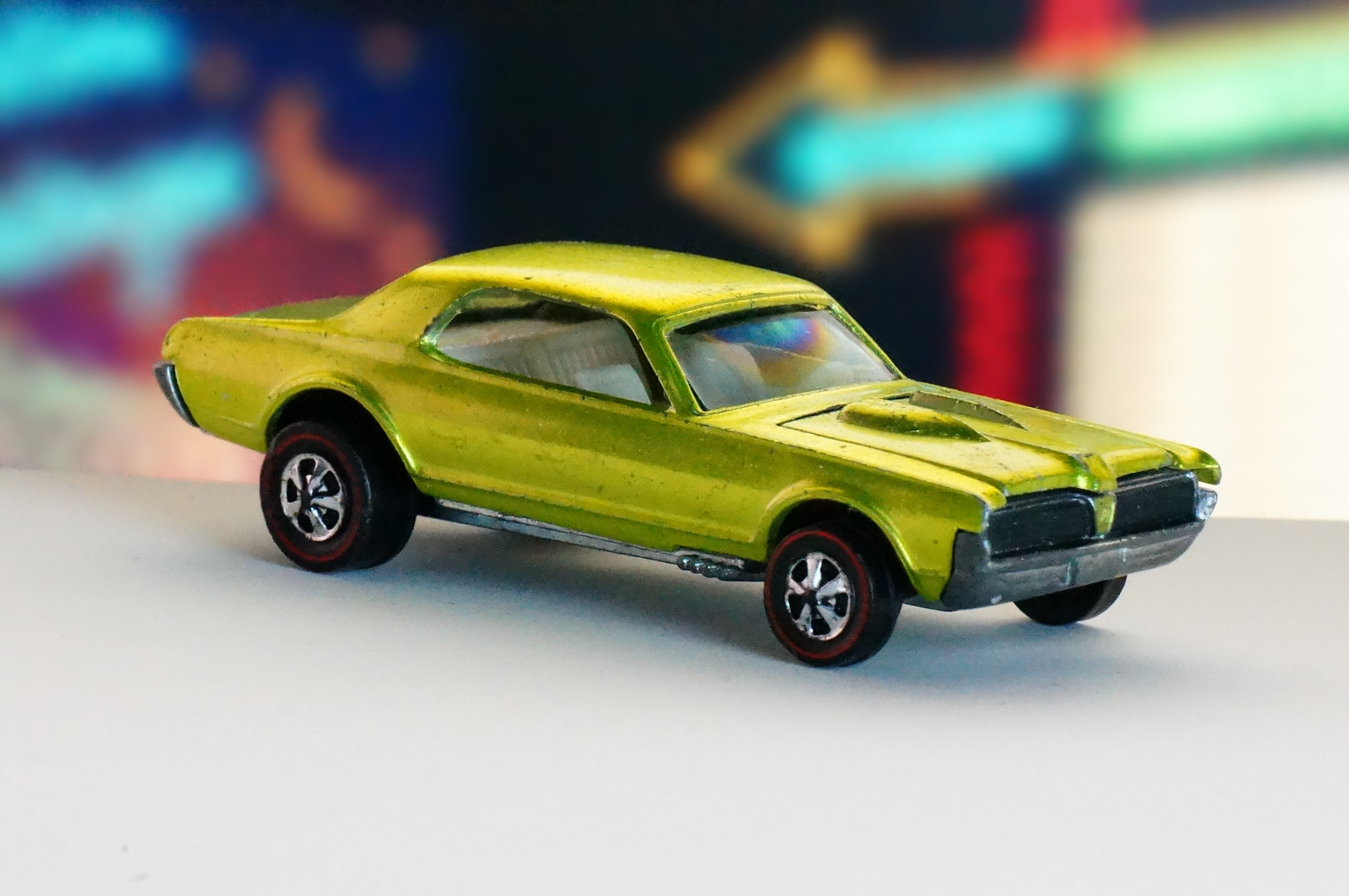 Hot Wheels Redline Lime Yellow Custom Cougar US Early Production