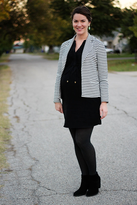 maternity-black-dress-striped-blazer-booties-3