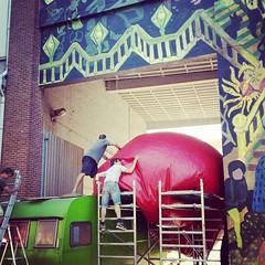 Art in the making @DCDeOever #Antwerp #streetart #redballproject #zva