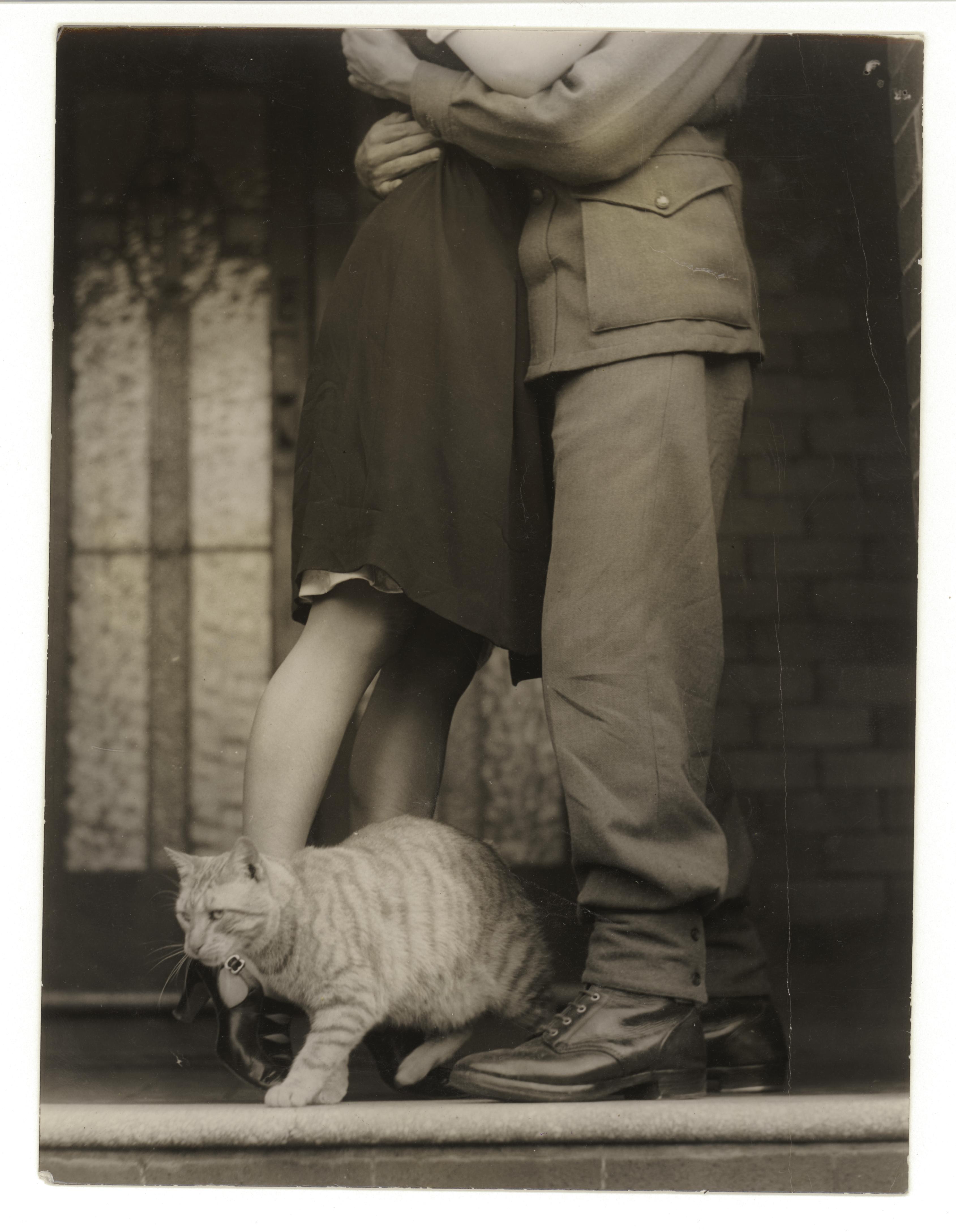 Soldier's goodbye & Bobbie the cat, ca. 1925-ca. 1945, Sam Hood