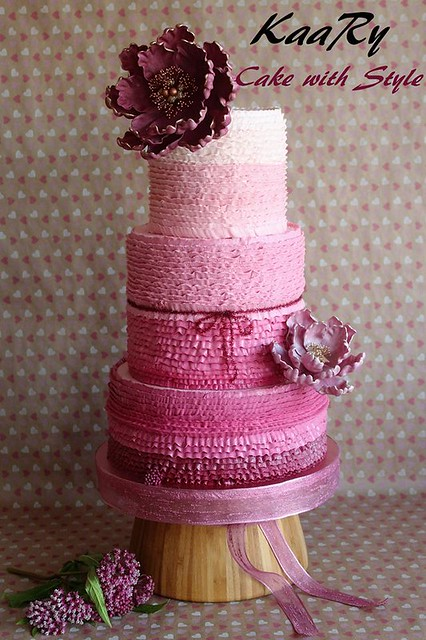 Pink Ruffles Cake by Karima Hammadi of Kaary cake with style