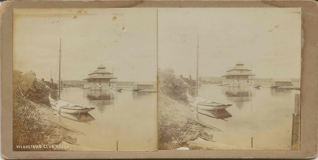 Traverse City MI Wequetong Club Stereoscopic Stereoview Circa 1910 Locally Famous Photographer Orson Peck on West Bay at The Boardman River Mouth View