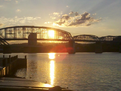 bridge ohio sun sunrise river point sawyer gumm