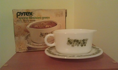 Pyrex Spring Blossoms Gravy Boat with Original Box