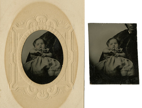Small Tintype of Baby in and out of the Mat - Hidden Mother