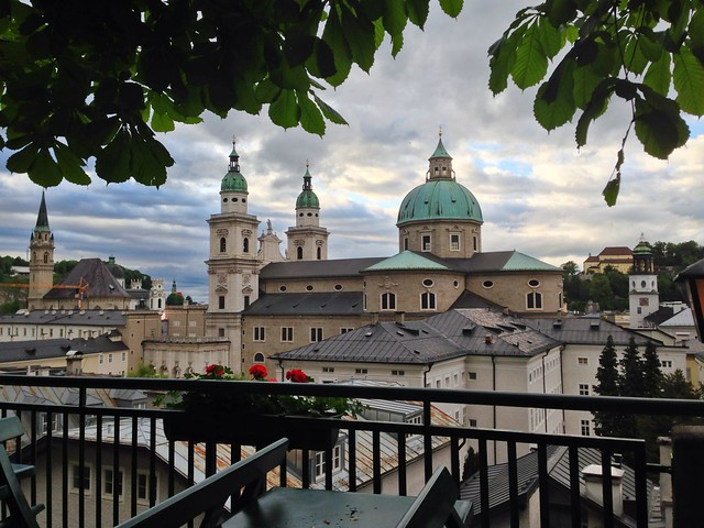 Salzburg cathedral seen from the Stieglkeller terrace