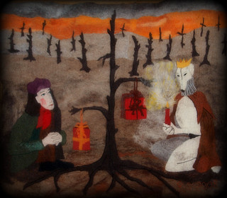 """Peaceful Christmas for two"", felting& embroidery 2008"