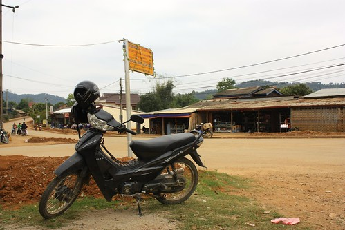 our motorbike glamour shot outside of Sabaidee Odisha restaurant