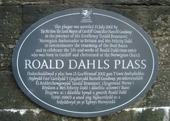 Photo of Roald Dahl black plaque