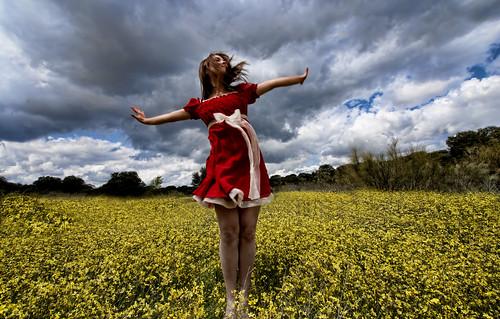 [フリー画像素材] 人物, 女性, 菜の花・アブラナ, 人物 - 田園・農場, 人物 - 花・植物, 髪がなびく, スペイン人 ID:201205050800