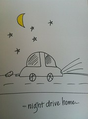 Hand drawn night drive