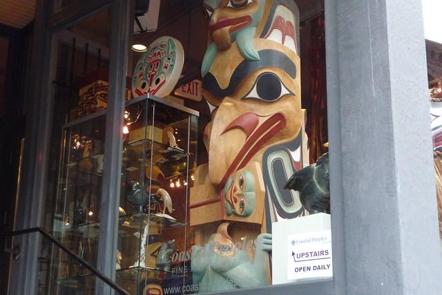 Totem in store window