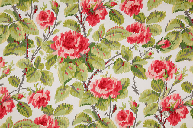 pixelated roses fabric